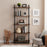 Mcombo Industrial Bookshelf Wood & Metal Bookcase, Rustic Plant Shelf Storage Rack Vintage Kitchen Shelves, Wide Modern Open Display Shelf Heavy Duty Pipe Book Cases Farmhouse Etagere BS505/404/303BLK