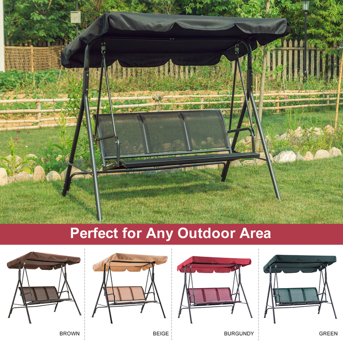 Mcombo Outdoor Patio Canopy Swing Chair 3-Person, Steel Frame Textilence Seats Swing Glider, 4507