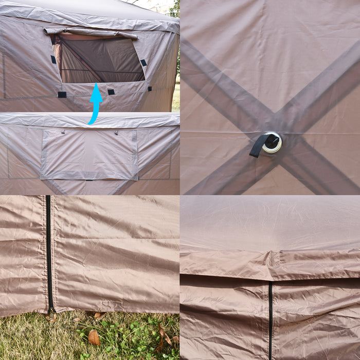 Mcombo Gazebo Tent Pop-Up Portable 4-Sided Hub Durable Screen Tent (4-6 Person) 6052-C1024BR-4pc