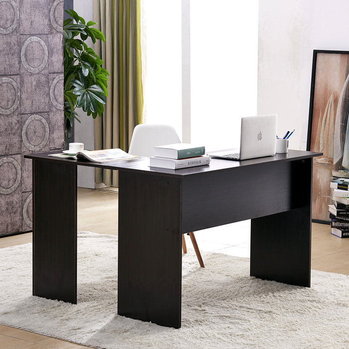 Mcombo Wood Corner Desk L-Shaped Computer Desk for Home Office Laptop PC Table 7191 Dark Brown 6090-7191DK