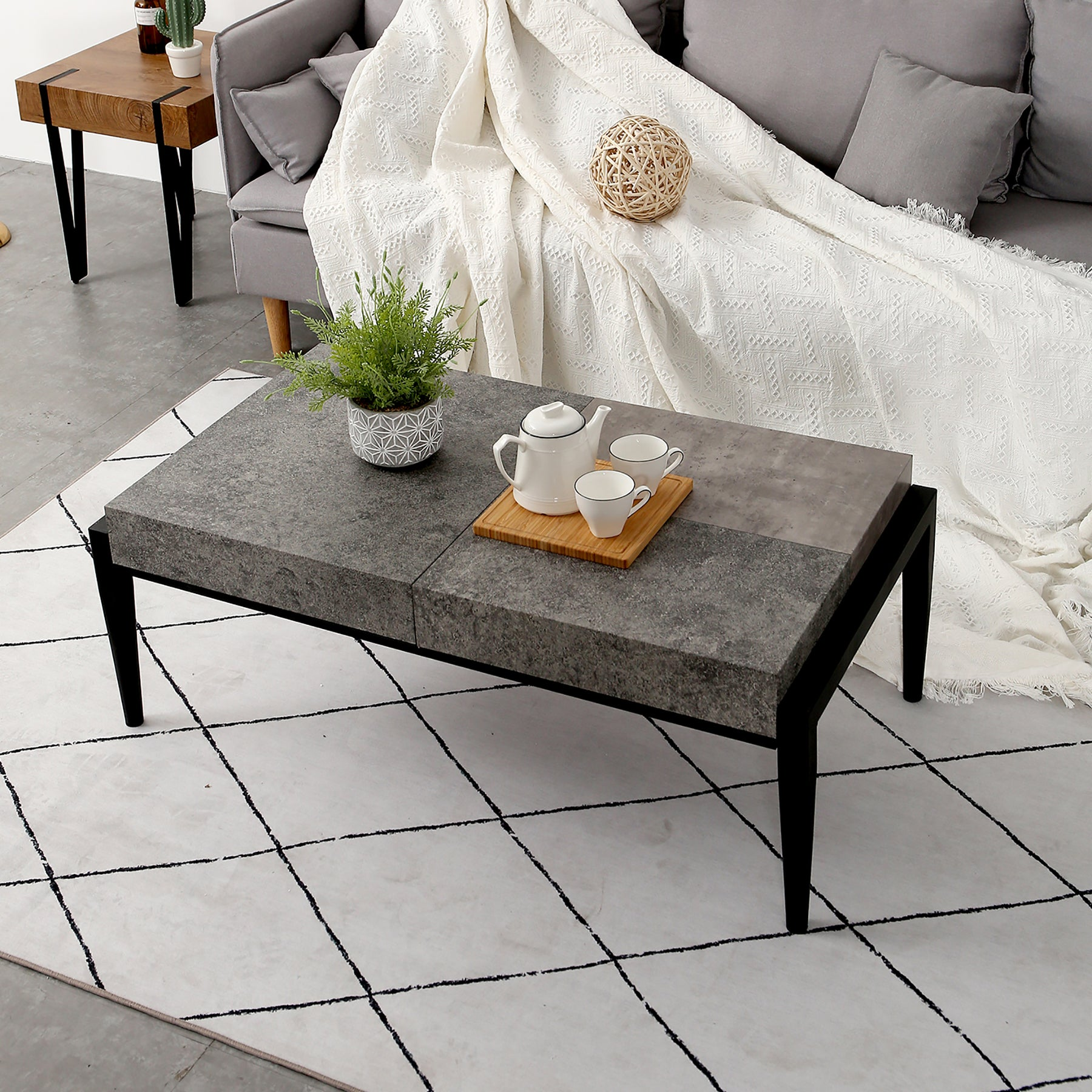 Mcombo Modern Industrial Coffee Table Gray Cement Finish Thicker