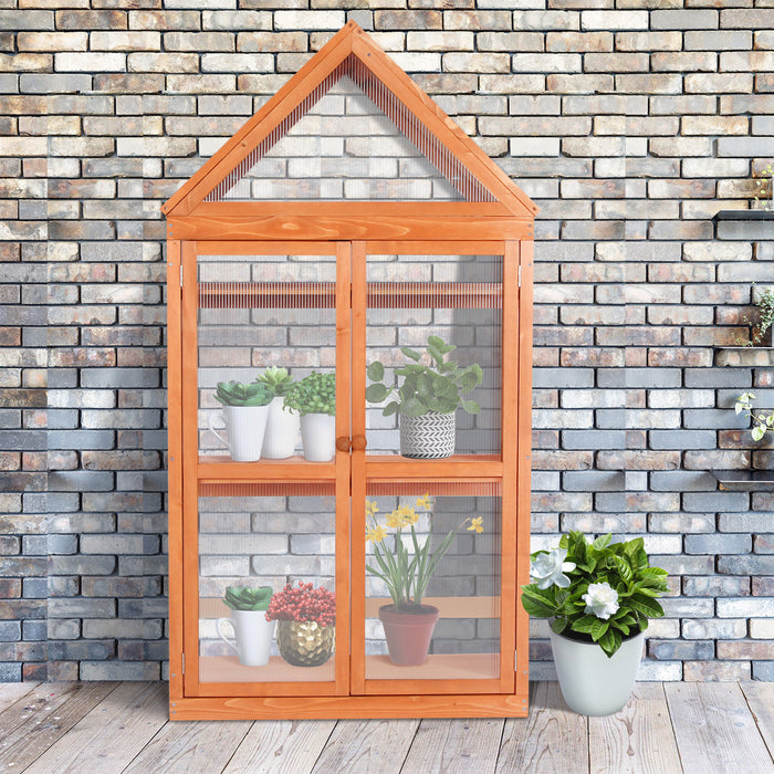 Wooden Garden Cold Frame Greenhouse Raised Flower Planter Shelf with Hard Translucent PVC Protection 0760 0800