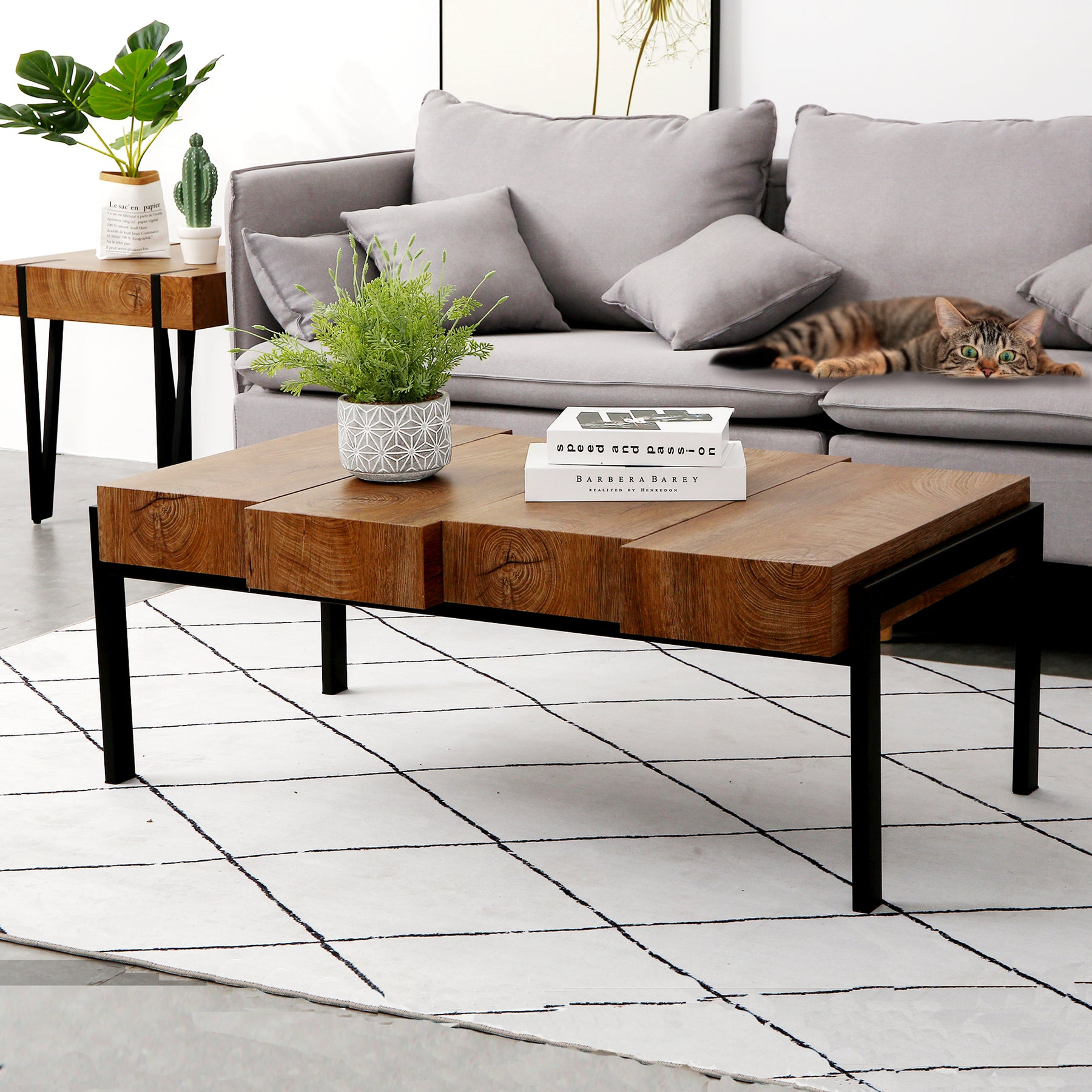 - Mcombo Modern Industrial Simple Design Wood Coffee Table For