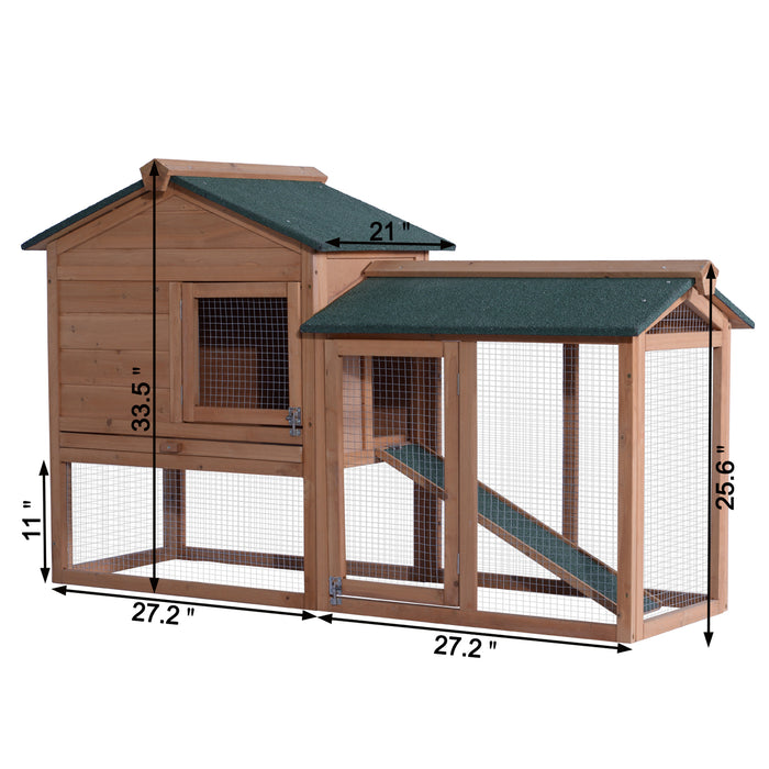 Lovupet Pet Supplies Chicken Coop Rabbit Hutch Wood House Pet Cage for Small Animals 1305