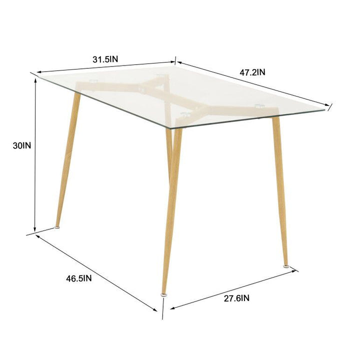 Mcombo Kitchen Modern Glass Rectangle Dining Table for 6 with Foot pad Espresso Mid-Century Leisure Coffee Table for Dining Room 6090-Tam-1TR