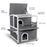 Lovupet 2-Story Weatherproof Wooden Outdoor/Indoor Luxurious Cat Shelter House Condo with Transparent PVC Canopy 0509
