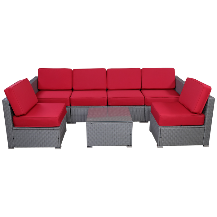 mcombo Outdoor Grey Patio Rattan Wicker Sectional Conversation Sofa Set  with 6 Chairs, Coffee Table, Weather-Resistant Cover 7PCS 6086-1007