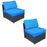 mcombo Black Wicker Sofa Patio Sectional Outdoor Furniture Chair Conversation Set 6085-DIY-BL