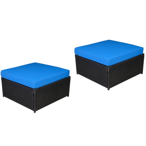 Black Wicker Sofa Patio Sectional Outdoor Furniture Chair Conversation Set 6088-2006OT-2