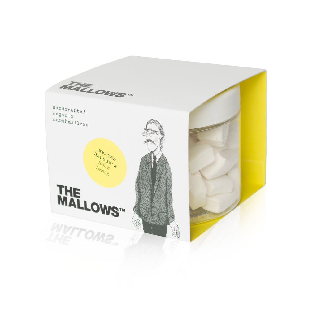 Skumfiduser.  Organic marshmallows sour lemon. Økologiske Skumfiduser lemon. Walter Hansen's Sour Lemon mallows. Emma Bülow