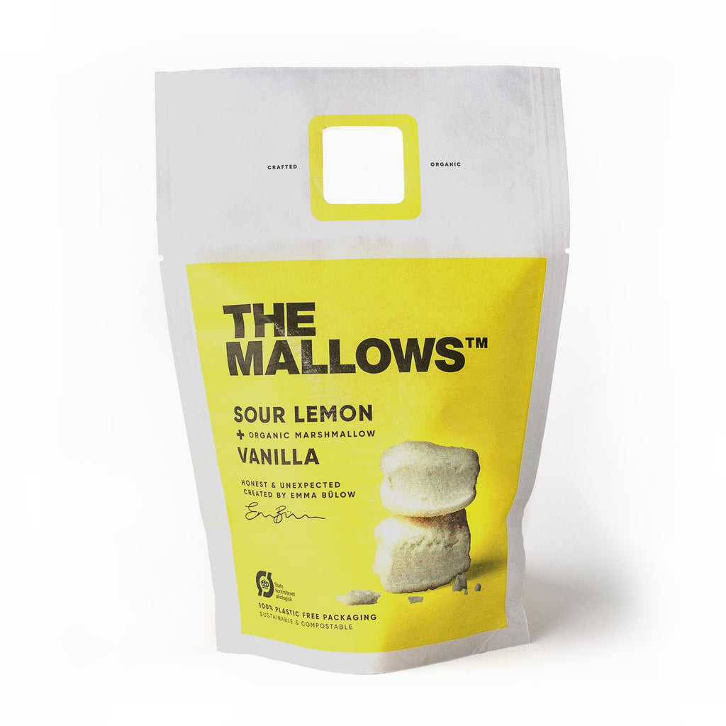 Skumfiduser.  Organic marshmallows sour lemon. Økologiske Skumfiduser lemon. Sour Lemon mallows. Emma Bülow
