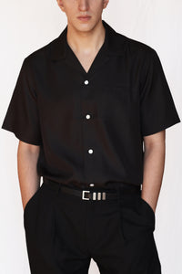 silk camp collar shirt - black - Commun des Mortels
