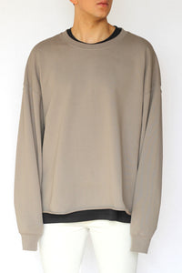 oversized raw-edge sweatshirt - concrete - Commun des Mortels
