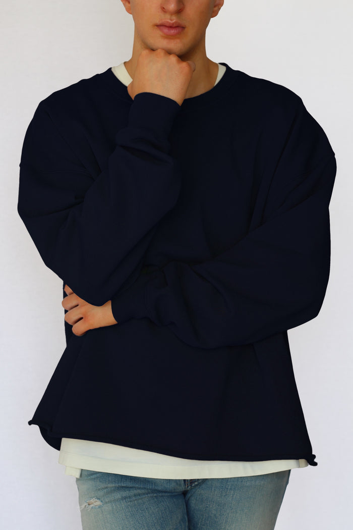 oversized raw-edge sweatshirt - navy blue - Commun des Mortels