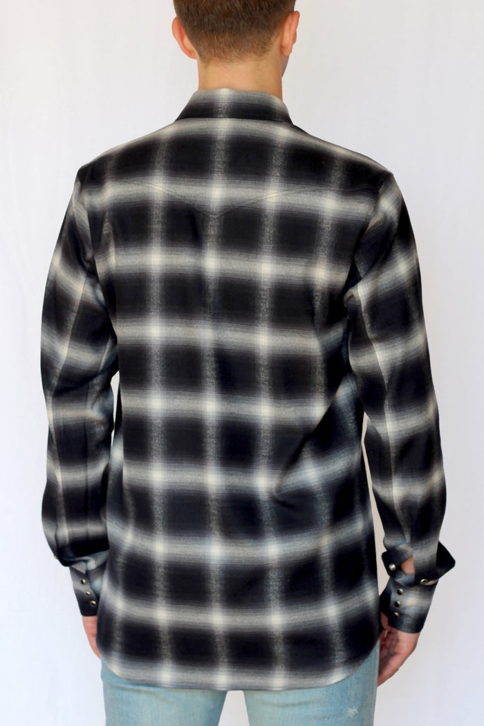 shadow plaid western shirt - asphalt - Commun des Mortels