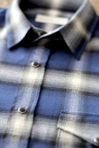 shadow plaid western shirt - klein blue - Commun des Mortels