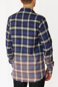 bleach distressed shadow plaid western shirt - klein blue/violet - Commun des Mortels