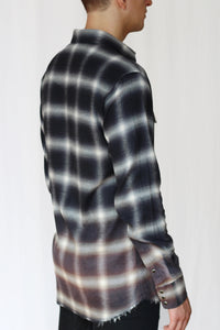 bleach distressed shadow plaid western shirt - asphalt black/rust - Commun des Mortels