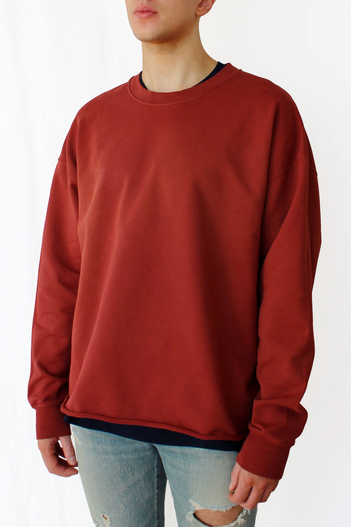 oversized raw-edge sweatshirt - cinnabar red - Commun des Mortels
