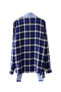 denim plaid kimono - klein blue - Commun des Mortels