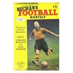 1951-10 Billy Wright, Wolves, Oct 51 Front Cover Metal Sign