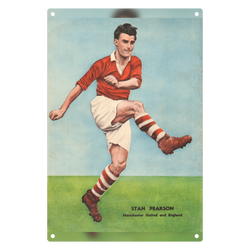 1952-12 Stan Pearson, Man Utd, Dec 52 Metal Sign