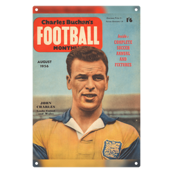 1956-08 John Charles, Leeds Utd, Aug 56 Front Cover Metal Sign