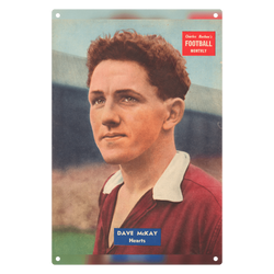 1957-03 Dave McKay, Hearts, Mar 57 Metal Sign