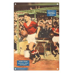 1957-05 Roger Byrne, Man Utd, May 57 Metal Sign