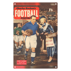1957-09 Peter Farrell, Everton, Sep 57 Front Cover Metal Sign
