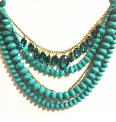 Blue Stone and Bead Layered Necklace