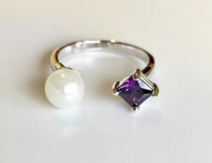 Stone & Pearl Open Ring