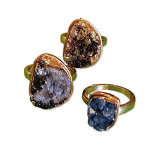 Natural Stone Agate Druzy Rings