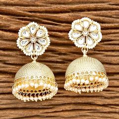 Floral Pearl and Stone Jhumkas