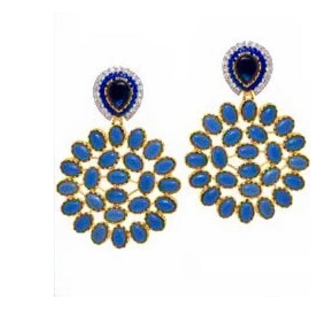 Indo Fusion Blue Stone Earrings