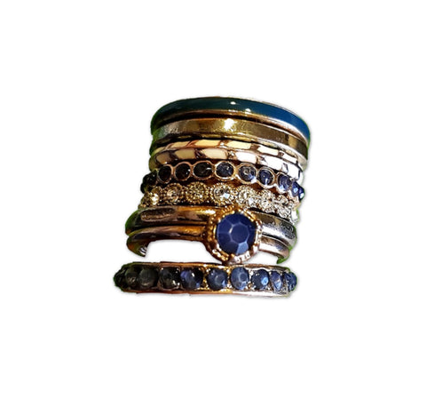 Blue And Gold Stack of Rings