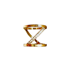 Hollow gold and stone ring