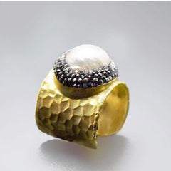 Paved Pearl And Gold Ring