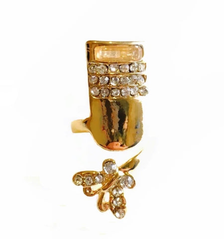 Butterfly Square Shape Nail Ring