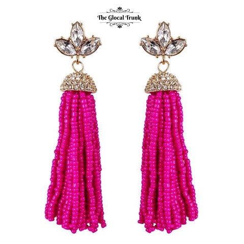 https://www.theglocaltrunk.com/products/lady-beaded-tassel-and-crystal-earrings-hot-pink