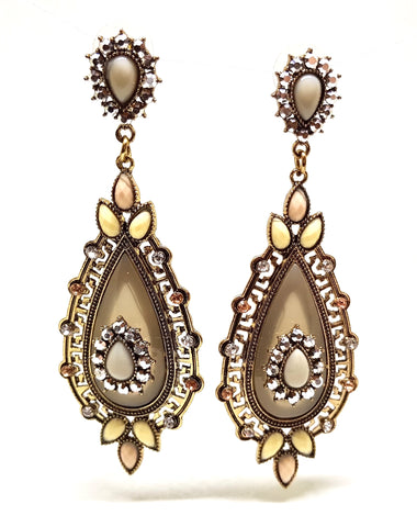 ADORÉ STONE AND CRYSTAL VINTAGE EARRINGS KHAKHI