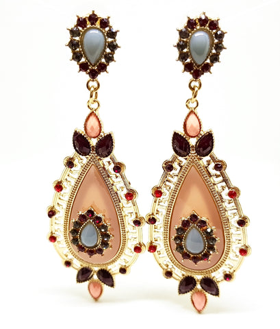 ADORÉ STONE AND CRYSTAL VINTAGE EARRINGS PEACH