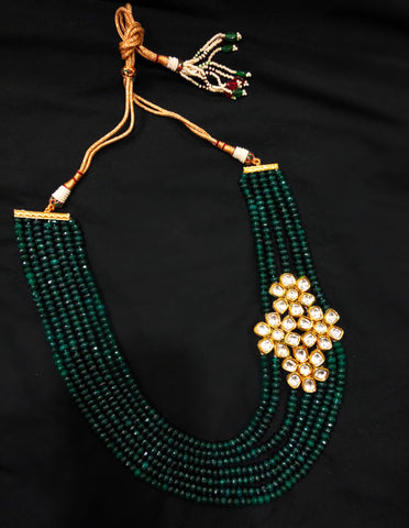 Amber Kundan And Beads Multi Strand Necklace
