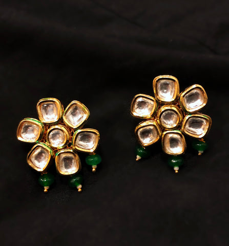 AMBER KUNDAN AND BEAD DANGLER STUD EARRINGS