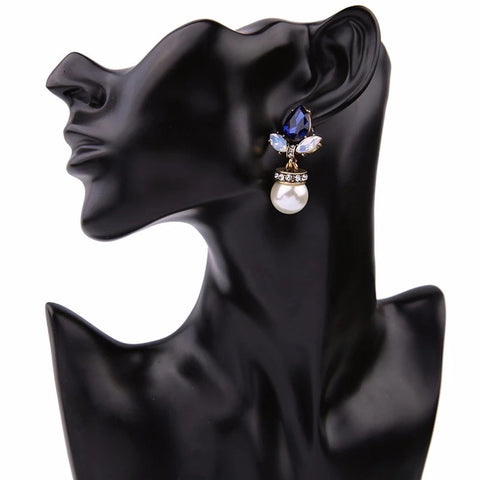 ANASTASIA PEARL DROP CRYSTAL STUD EARRING BLUE