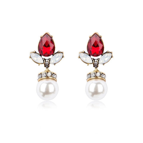 ANASTASIA PEARL DROP CRYSTAL STUD EARRING RED
