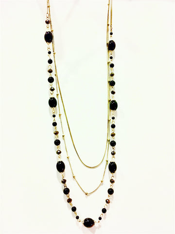 Antique Black Bead Multichain Necklace