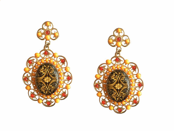 ARABIC FILIGREE PAINTED EARRINGS