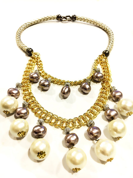 Belle Leather & Pearl Necklace