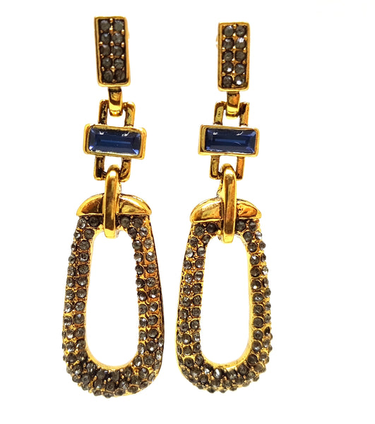 BLACK CRYSTAL AND BLUE STONE ANTIQUE EARRINGS